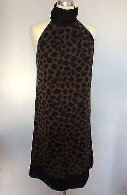 Marks & Spencer Black & Brown Print Shift Dress Size 14 - Whispers Dress Agency - Sold - 1
