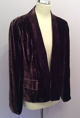 Marks & Spencer Brown Velvet Jacket Size 14 - Whispers Dress Agency - Womens Coats & Jackets - 1