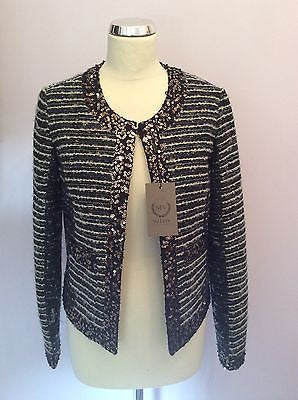 Brand New Malvin Black & Ivory Sequined Trim Jacket Size 12 - Whispers Dress Agency - Sold - 1