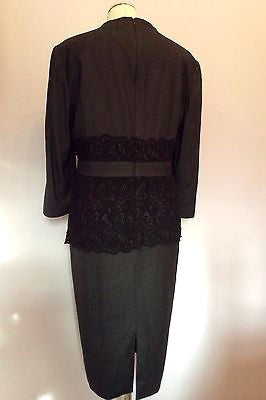 Brand New Jaeger Grey & Black Lace Trim Wool & Silk Dress Size 16 RRP £560 - Whispers Dress Agency - Sold - 2