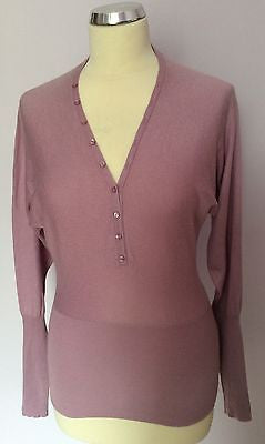 Betty Barclay Collection Pink Silk & Cashmere V Neck Jumper Size 10 - Whispers Dress Agency - Sold - 1