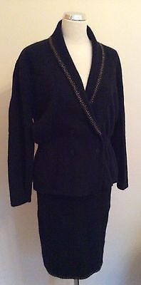 Vintage Bruna Cavvalini Black Knit Wool Jewel Trim Cardigan & Skirt Suit Size M - Whispers Dress Agency - Womens Vintage - 1