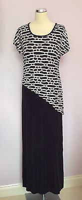 Joseph Ribkoff Black & White Stretch Long Evening Dress Size 12 - Whispers Dress Agency - Sold - 3