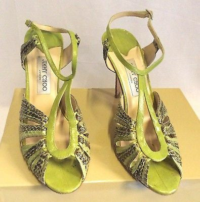 Jimmy Choo Raven Elaphe Green Snakeskin Strappy Heel Sandals Size 7/40.5 - Whispers Dress Agency - Womens Sandals - 2