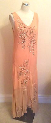 Aftershock Peach Beaded & Sequinned Silk Long Cocktail Dress Size XL - Whispers Dress Agency - Sold - 1