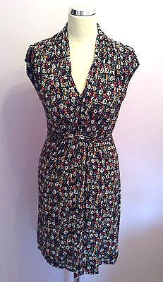 French Connection Floral Print V Neck Cap Sleeve Dress Size 10 - Whispers Dress Agency - Sold - 1