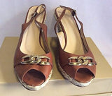 LK Bennett Tan Brown Leather Wedge Heel Peeptoe Sandals Size 7.5/ 41 - Whispers Dress Agency - Sold - 2