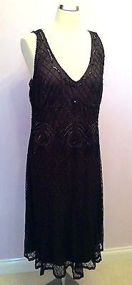 Black & Brown Beaded & Sequinned Knee Length Cocktail Dress Size 18 - Whispers Dress Agency - Womens Eveningwear - 1