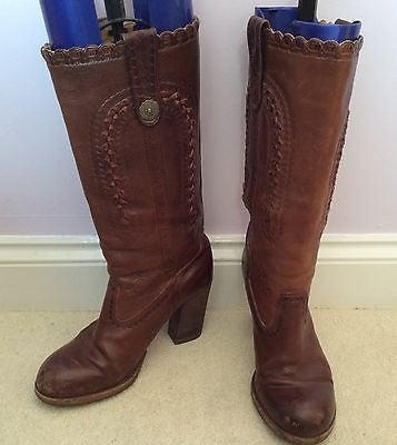 Ash Brown All Leather Cowboy Boots Size 4/37 - Whispers Dress Agency - Sold - 1