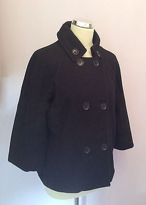 Whistles Black Wool Double Breasted Jacket Size 14 - Whispers Dress Agency - Sold - 1