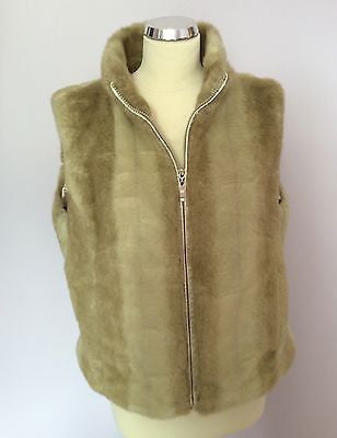John Rocha Beige Faux Fur Gilet Size 16 - Whispers Dress Agency - Womens Gilets & Body Warmers - 1