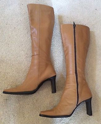Daniel Camel All Leather Skinny Leg Heeled Knee High Boots Size 2.5/35 - Whispers Dress Agency - Sold - 1