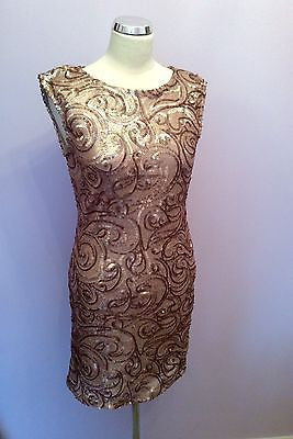 Brand New Jane Norman Gold Sequin Swirl Dress Size 14 - Whispers Dress Agency - Clearance - 1