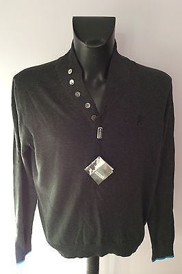 Brand New Lambretta Dark Grey Button Neck Jumper Size XL - Whispers Dress Agency - Sold - 1