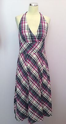 Monsoon Red, White & Blue Check Cotton Halterneck Dress Size 10 - Whispers Dress Agency - Sold - 1
