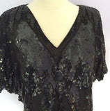 Pure Silk Black Sequinned Butterfly Design Top One Size - Whispers Dress Agency - Sold - 2