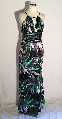 Star By Julien Macdonald Black, Purple, White & Green Satin Maxi Dress Size 12 - Whispers Dress Agency - Sold - 1