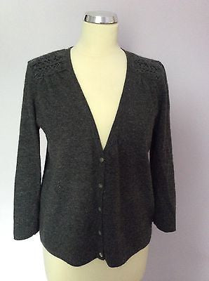 Laura Ashley Dark Grey Crocheted Trim V Neck Lambswool Blend Cardigan Size 16 - Whispers Dress Agency - Sold - 1