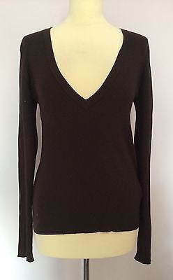 Joseph Dark Brown Ribbed Silk Blend V Neck Jumper Size XL - Whispers Dress Agency - Sold - 1