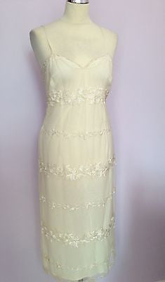 Frank Usher Cream Lace Overlay Dress Size 10 - Whispers Dress Agency - Womens Dresses - 1