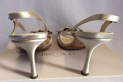 Jimmy Choo Nude Silk Satin Jewel Strappy Heel Sandals Size 7/40 - Whispers Dress Agency - Womens Sandals - 6