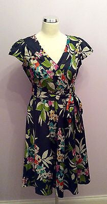 Per Una Dark Blue Floral V Neck Cotton Dress Size 12 - Whispers Dress Agency - Womens Dresses - 1