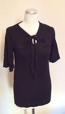 French Connection Black Scoop Neck Tie Front Short Sleeve Jumper Size S - Whispers Dress Agency - Sold