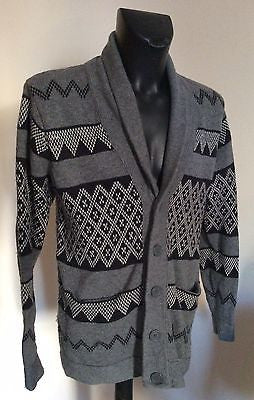 Gianni Feraud Grey & Black Print Wool Blend Cardigan Size L - Whispers Dress Agency - Mens Knitwear - 1