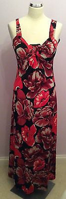 Star By Julien Macdonald Black & Red Floral Print Maxi Dress Size 10 - Whispers Dress Agency - Womens Dresses - 1