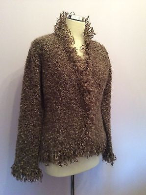 East Brown Mohair Blend V Neck Cardigan Size 12 - Whispers Dress Agency - Sold - 1