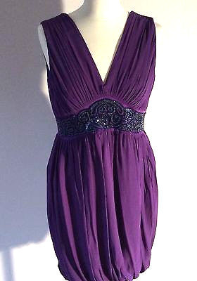 Monsoon Purple Silk Bead & Sequin Trim Occasion Dress Size 14 - Whispers Dress Agency - Womens Special Occasion - 1