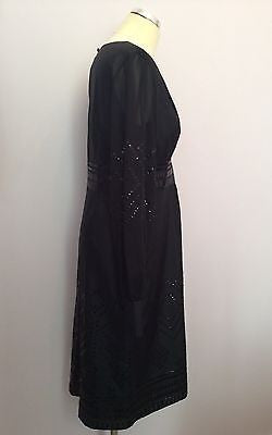 Brand New Monsoon Black Sequinned Long Sleeve Silk Dress Size 12 - Whispers Dress Agency - Womens Eveningwear - 2