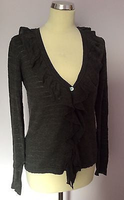 Laura Ashley Dark Grey V Neck Frill Trim Cardigan Size 12 - Whispers Dress Agency - Sold - 1