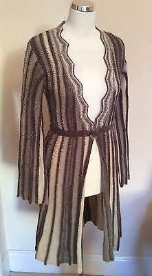 New Principles Brown / Beige Striped Long Cardigan Size M - Whispers Dress Agency - Womens Knitwear - 1