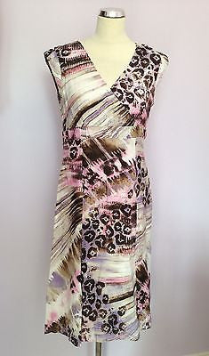 Betty Barclay Pink, Lilac White & Brown Print Linen Dress Size 12 - Whispers Dress Agency - Womens Dresses - 1
