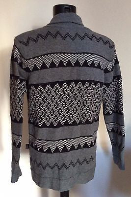 Gianni Feraud Grey & Black Print Wool Blend Cardigan Size L - Whispers Dress Agency - Mens Knitwear - 2