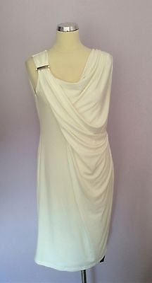 Brand New Star By Julien Macdonald Ivory Pleated Drape Sleeveless Dress Size 16 - Whispers Dress Agency - Sold - 1