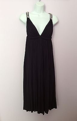 Amanda Wakeley Black Diamante Straps Pleated Cocktail Dress Size 8 - Whispers Dress Agency - Womens Eveningwear - 1