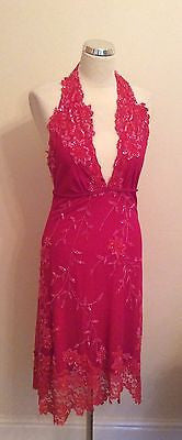 BRAND NEW AFTERSHOCK HOT PINK BEADED & SEQUINNED HALTERNECK COCKTAIL DRESS SIZE M - Whispers Dress Agency - Womens Eveningwear - 1