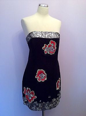 French Connection Black Strapless Jewel, Beaded & Sequined Dress Size 14 - Whispers Dress Agency - Sold - 1
