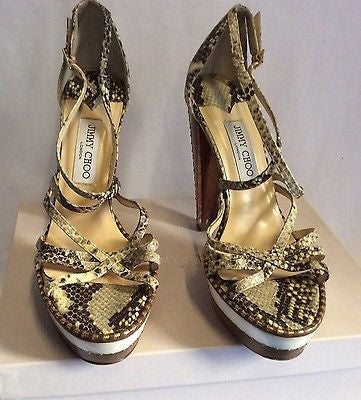 Jimmy Choo Zena Snakeskin Perspex Heel Strappy Sandals Size 6.5/40 - Whispers Dress Agency - Womens Sandals - 2