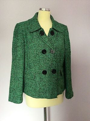 Planet Green & Black Fleck Double Breasted Jacket Size 16 - Whispers Dress Agency - Sold - 1