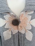 Ted Baker Light Grey Sequined Flower Trim Cardigan Size 4 Approx 14 - Whispers Dress Agency - Sold - 2