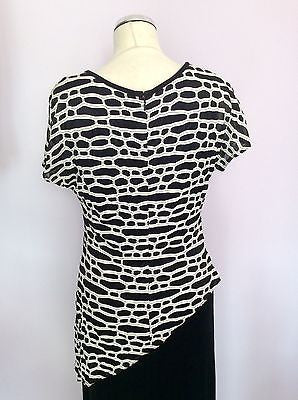 Joseph Ribkoff Black & White Stretch Long Evening Dress Size 12 - Whispers Dress Agency - Sold - 5