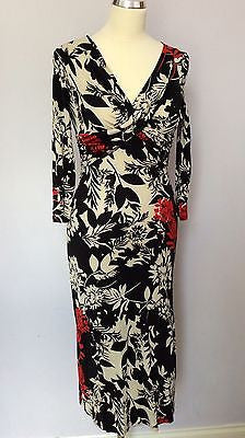 Coast Black, Red & White Floral Print Silk Dress Size 8 - Whispers Dress Agency - Womens Dresses - 1