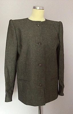 Valentino Grey / Black Blend Weave Collarless Jacket Size 44 UK 14 - Whispers Dress Agency - Sold - 1