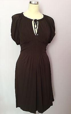 Karen Millen Dark Brown Scoop Neck Tie Cap Sleeve Dress Size 10 - Whispers Dress Agency - Womens Dresses - 1