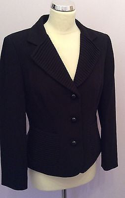 Precis Black Pleated Trim Smart Jacket Size 10 - Whispers Dress Agency - Sold - 1