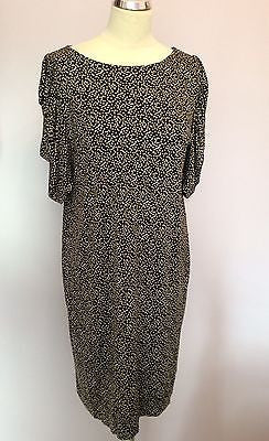 Jaeger Brown & Cream Print Silk Pleated Short Sleeve Dress Size M - Whispers Dress Agency - Womens Dresses - 1