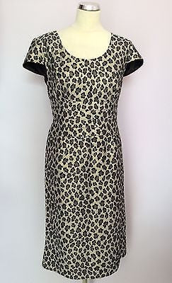Gina Bacconi Black & Silver / Gold Metalic Leopard Print Pencil Dress Size 16 - Whispers Dress Agency - Womens Special Occasion - 1